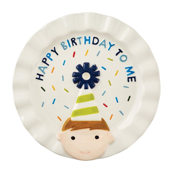 Ceramic Birthday Boy plate with candle holder