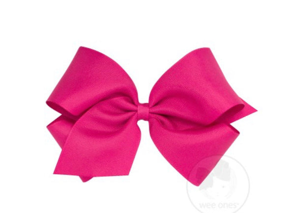 Wee Ones Grosgrain Bow Shocking Pink (Select Your Size)