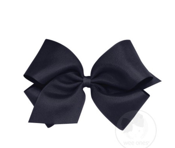 Wee Ones Grosgrain Bow Navy (Select Your Size)