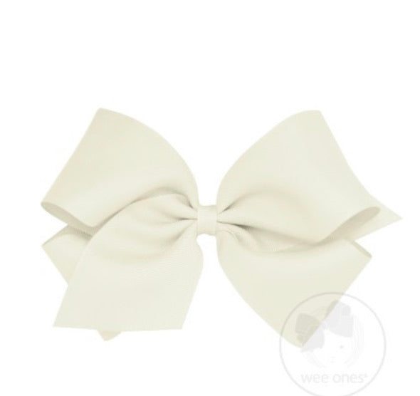 Wee Ones Grosgrain Bow Antique White (Select Your Size)