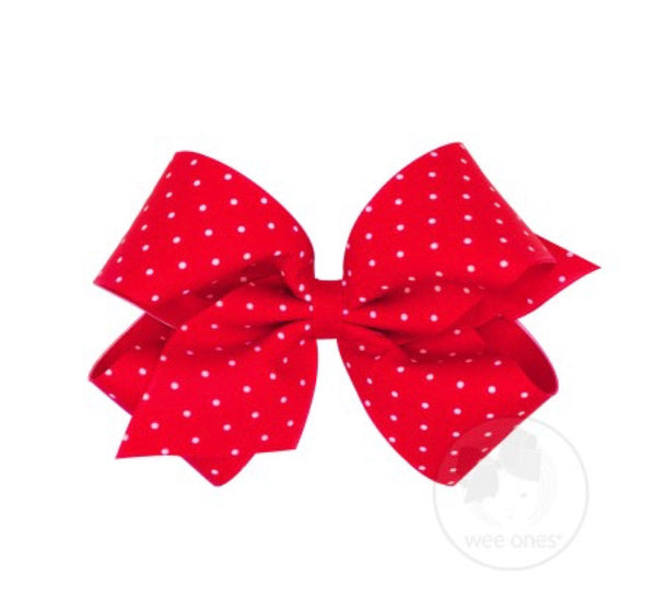 Wee Ones Tiny Dot Red Bow (select your size)