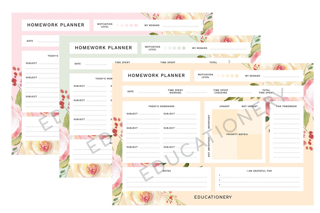 Homework Planner Floral (Digital)