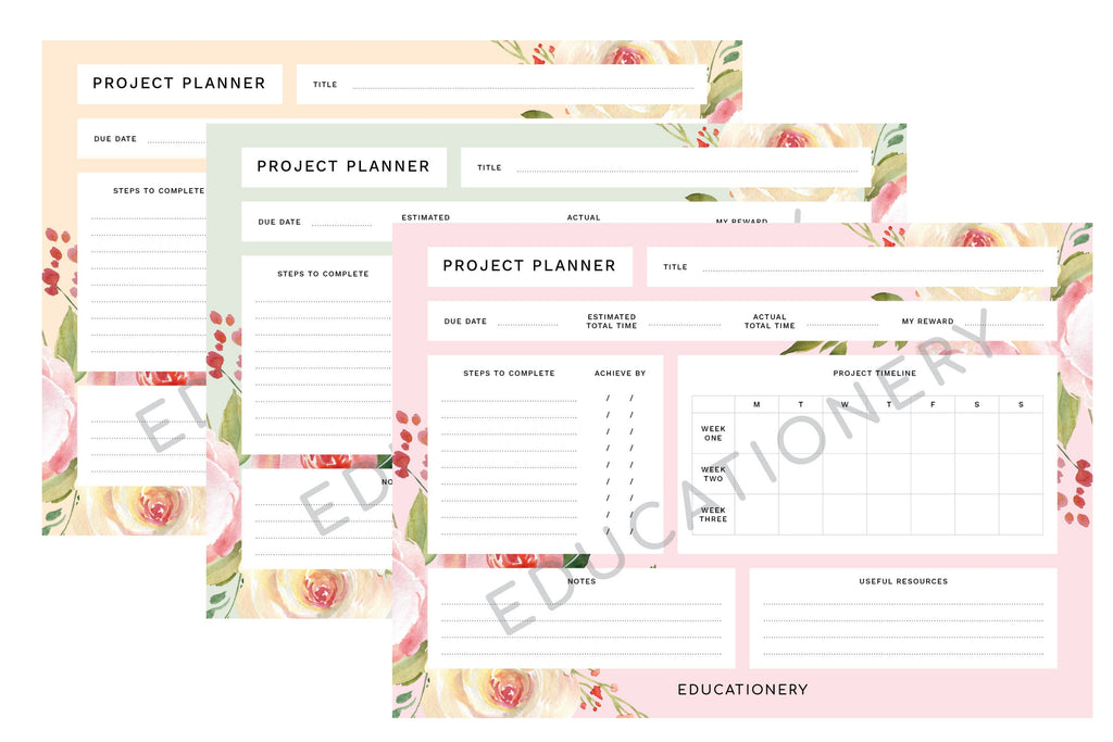 Project Planner Floral (Digital)