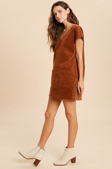 Harper Corduroy Side Button Dress
