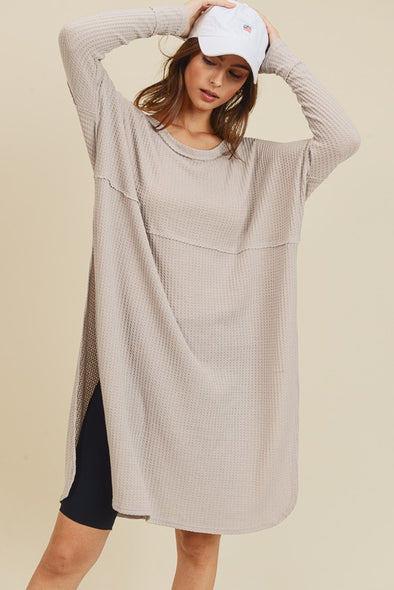 Dove Grey Knit Tunic Top