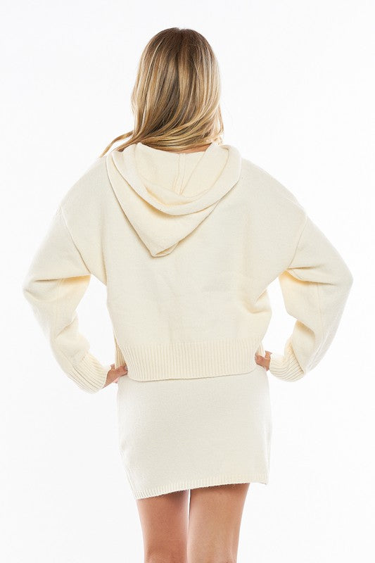 Chloe Cream Cable Knit Hoodie