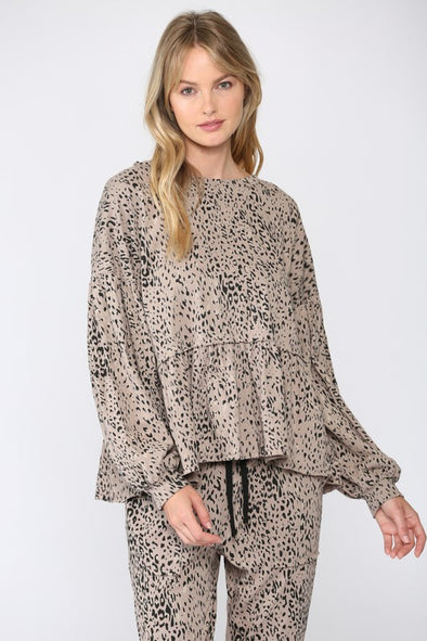 Wilder Animal Print Babydoll Top