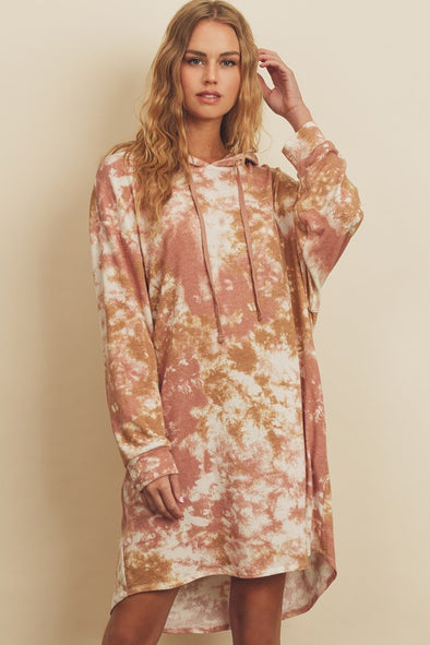 Sunset French Terry Tie Dye Hoodie Dress