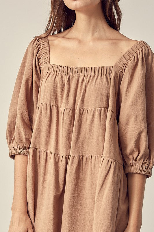 Kaitlyn Taupe Square Neck Dress