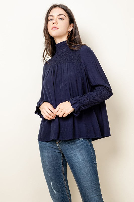 Into the Blue Navy Smocked Top