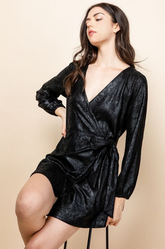 Becky Wrap Suede Snake Print Dress