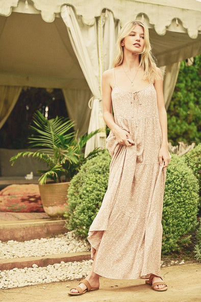 Blushed Sand Floral Tiered Maxi Dress