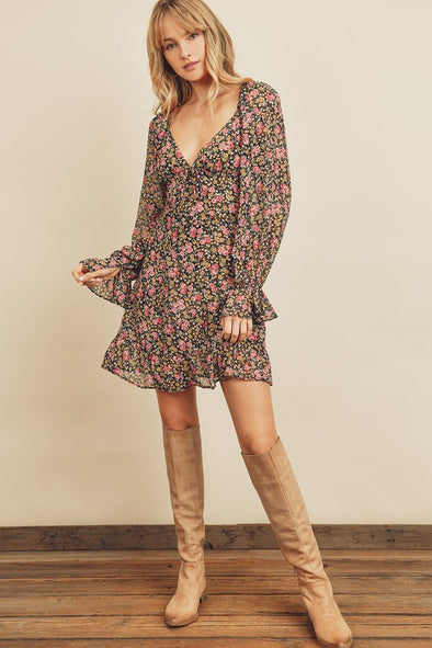 Overjoy Plunging Ruffled Hem Dress