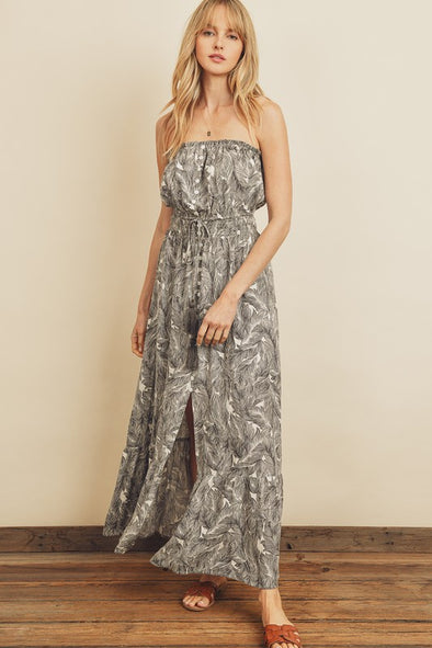 A Thousand Palms Strapless Maxi Dress