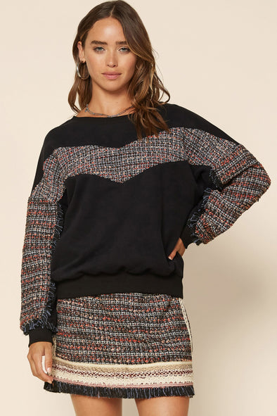 Addison Tweed Contrast Sweatshirt