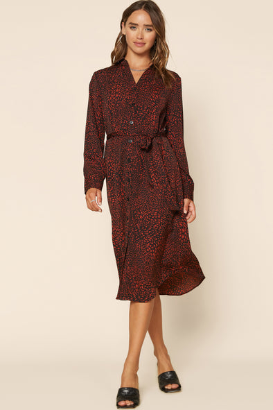 Taryn Long Sleeve Shirt Dress with Belt Tie