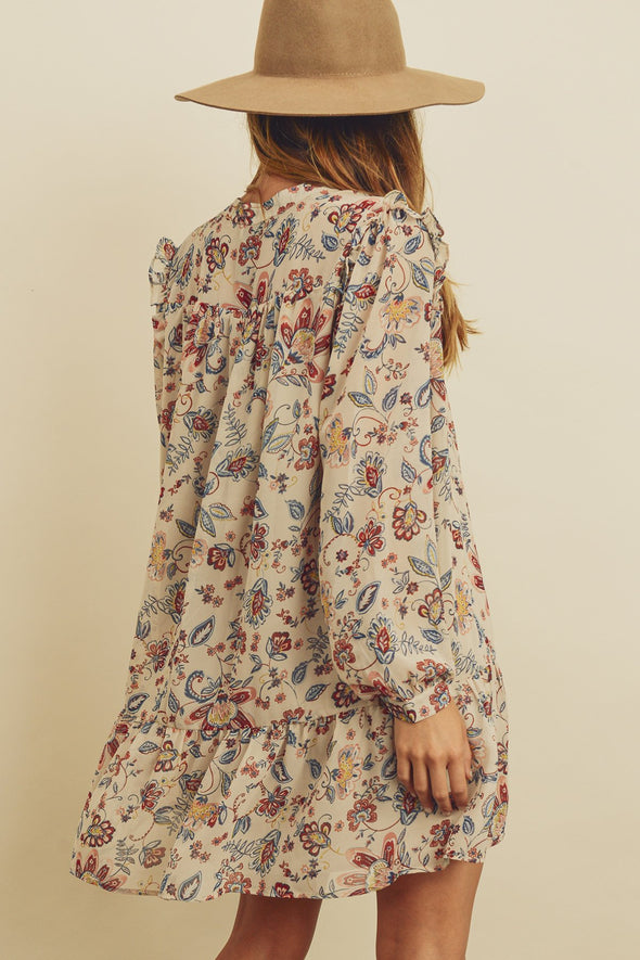 Paisley Floral Boho Mini Dress