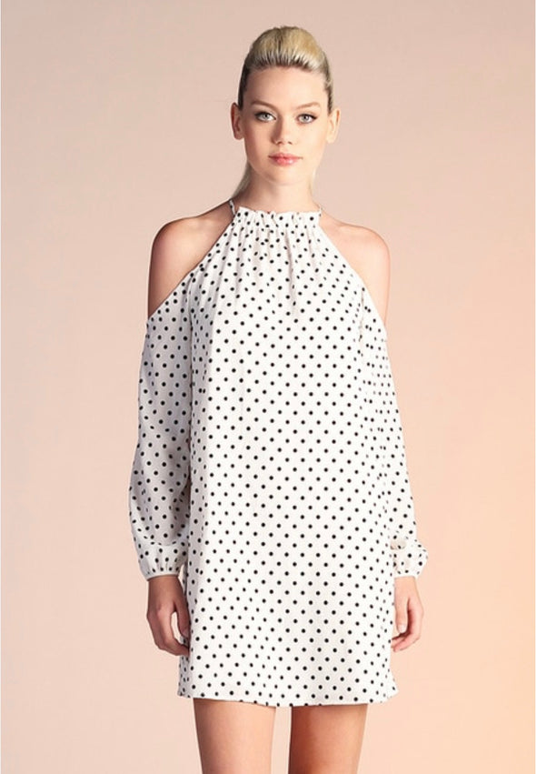 Flocked Polka Dot Cold Shoulder Dress - BLACK