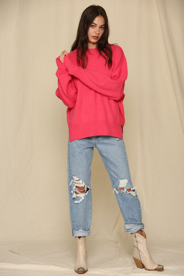 Pop of Color Hot Pink Oversized Sweater