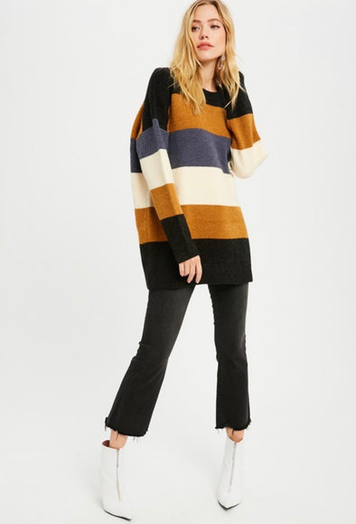 Melissa Colorblock Oversized Tunic Sweater