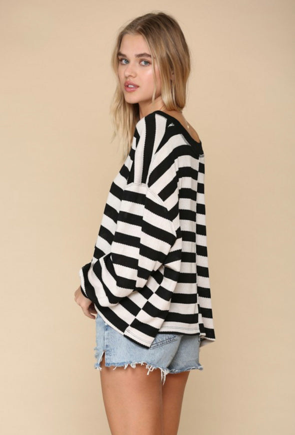 Sandy Striped Oversized Knit Top