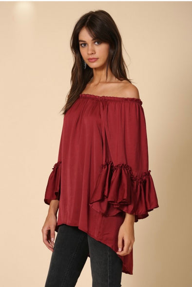 Sienna Off The Shoulder Top with Tierred Bell Arm