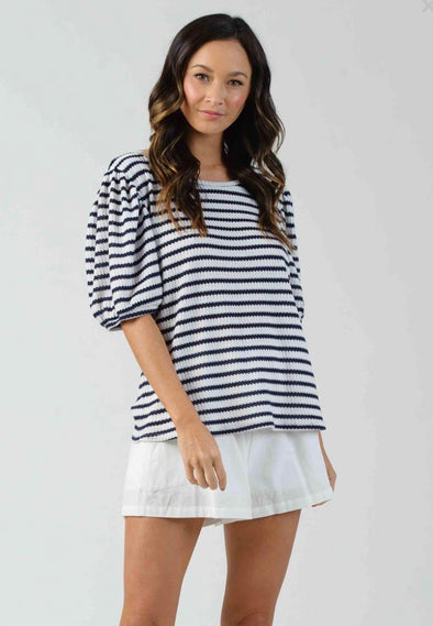Esme Puff Sleeve Tee - Navy Stripe