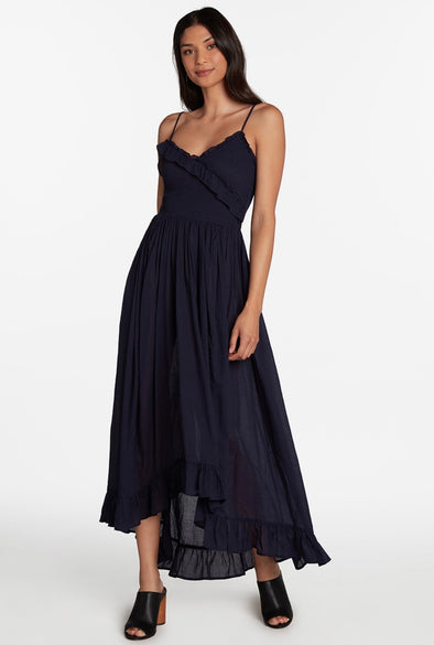Jolie Smocked Ruffle High Low Maxi Dress - Navy