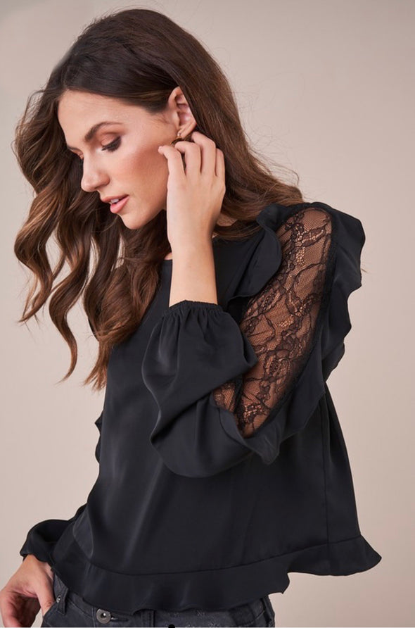 West Elm Lace Inset Ruffle Blouse - Black