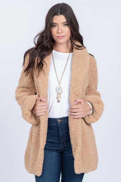 Plush Teddy Coat With Bubble Sleeves