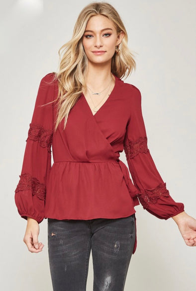 Peasant & Peplum Wrap Top with Lace Insets - Wine