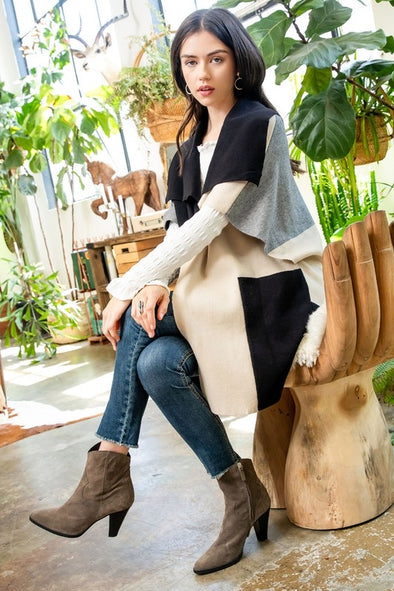 Kacey Colorblock Mixed Print Cardigan