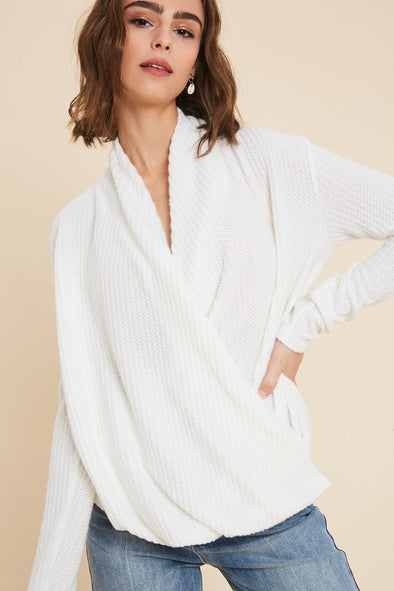 Cassie Brushed Waffle Knit Surplice Top