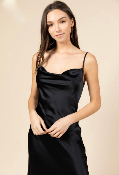 Amanda Drape Front Sexy Satin Slip Dress