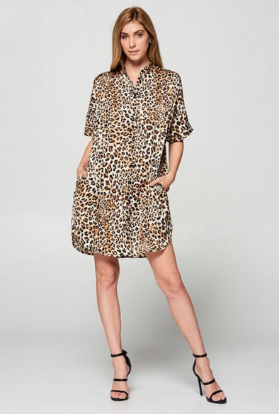 Essentially Chic Leopard Print Shirt Dress