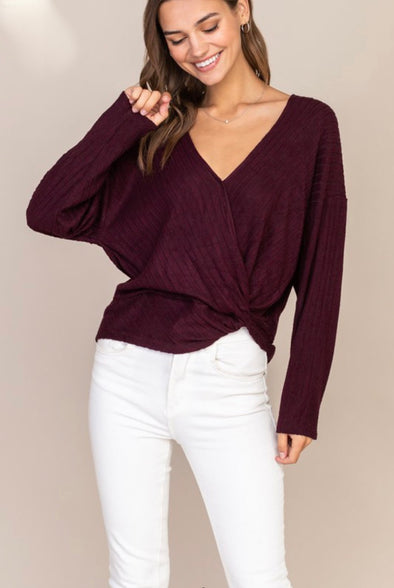 Essential Faux Wrap Rib Knit Sweater