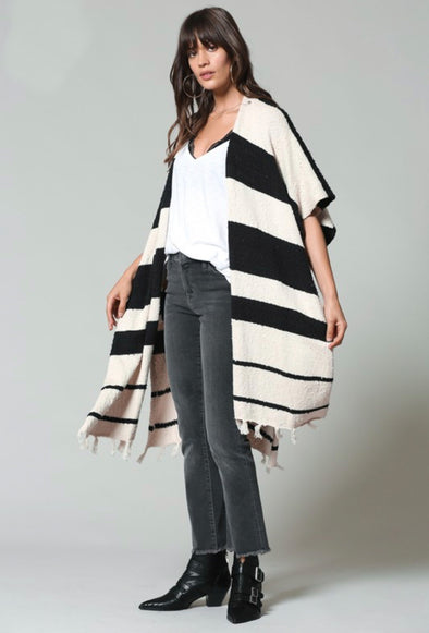 Thick Stripe Fringe Bottom Shawl Cardigan