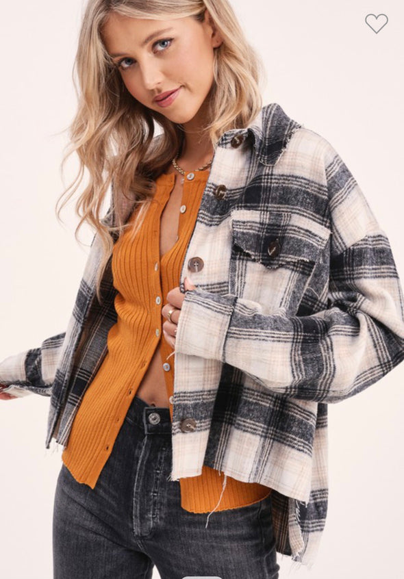 Studio City Distressed Plaid Shacket