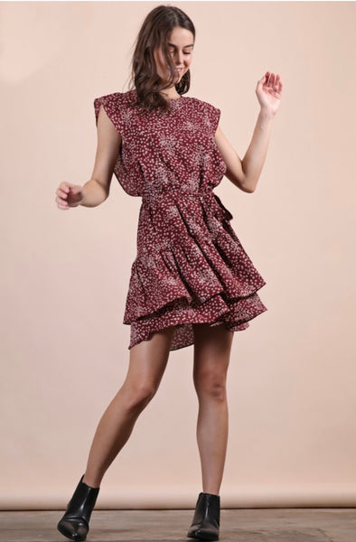 Callie Print Ruffle Mini Dress with Self-Tie Belt
