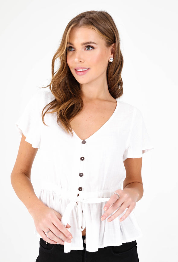 Luna Tie-Front Button Top