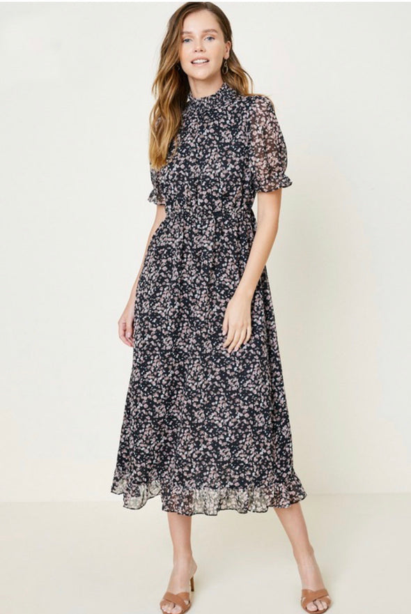 Hayden Floral Ruched & Ruffled Midi Dress - Black Mix