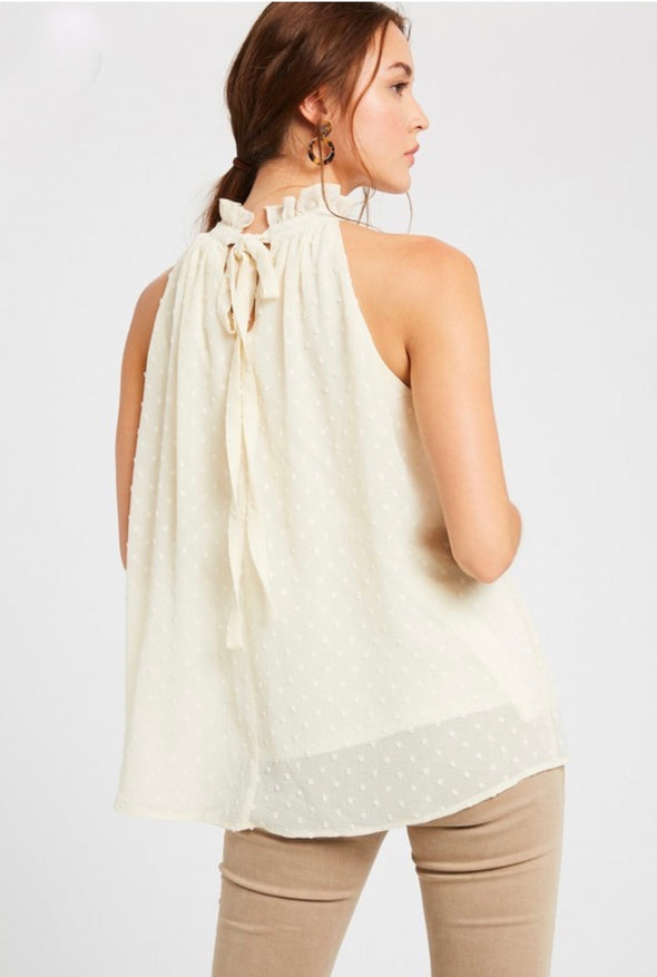 Dot Chiffon Ruffle Halter Sleeveless Top
