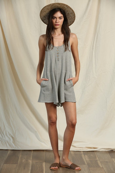 Better Days Striped Knit Romper