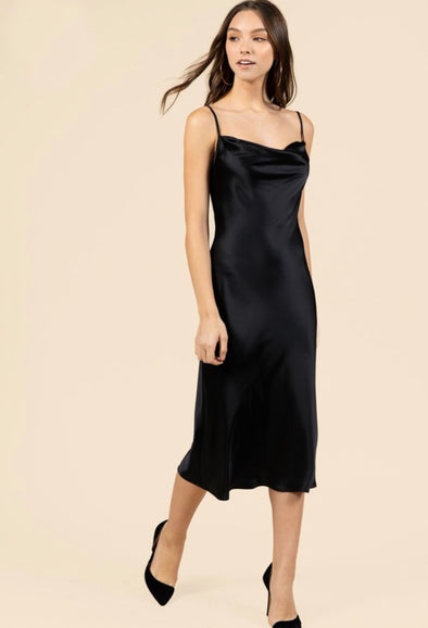 Amanda Drape Front Satin Slip Dress