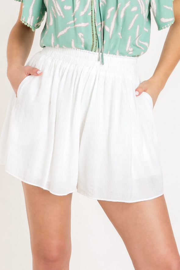 Spring Fling High Waisted Shorts - White
