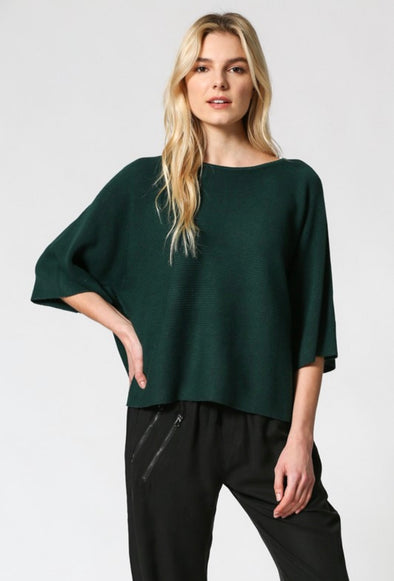 Hunter Green Cropped Knit Wide Sleeve Top