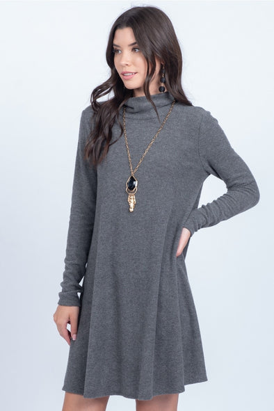 Everly Swing Sweater Dress - Charcoal