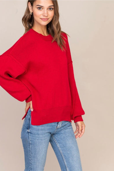 Holly Round Neck Red Knit Sweater