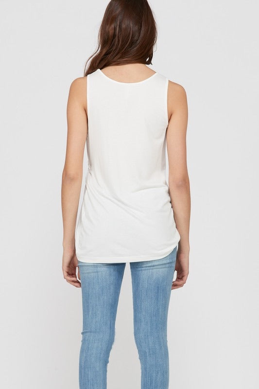 Brooklyn Bamboo Gathered Side Tank Top