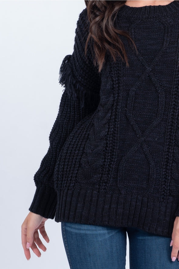 On the Fringe Cable Knit Sweater - Black